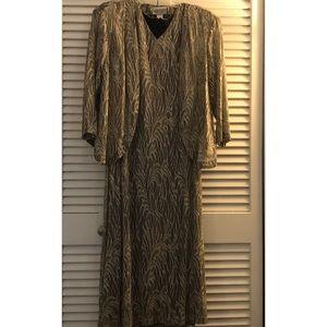 Elegant Gold Sheath Dress w/Jacket Size 20W